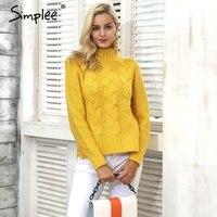 Simplee Knitting Pullover Turtleneck Sweater Women Outerwear Jumper Side Split Sweater Autumn Winter Pull Femme Casual