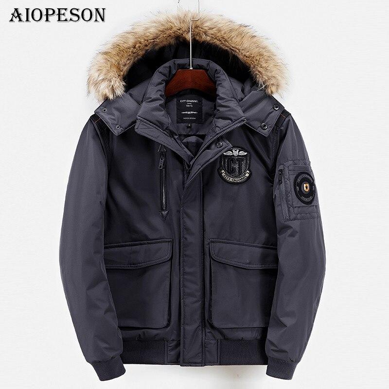 AIOPESON Casual Jackets Men Solid Color Thicken Warm Winter Jacket Men Fur Collar Winter Coat Big Pocket Loose Parkas Size S-XXL bert pulitzer men s big textured solid sport coat