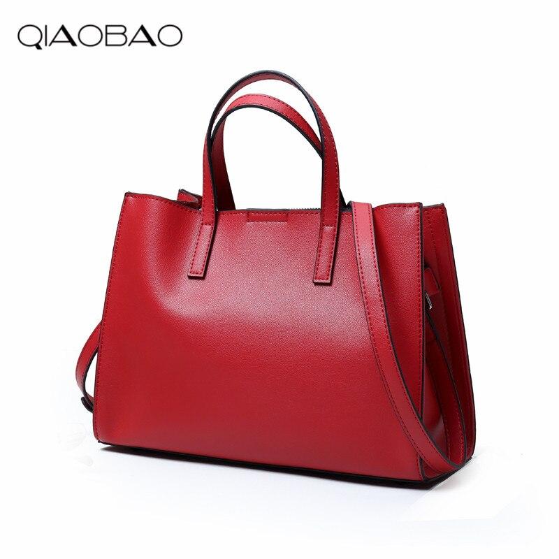 QIAOBAO 2018 100% Genuine leather bag new fashion women's shoulder bags famous brand bolsas female crossbody bag tote 11cls bolsas fashion 100