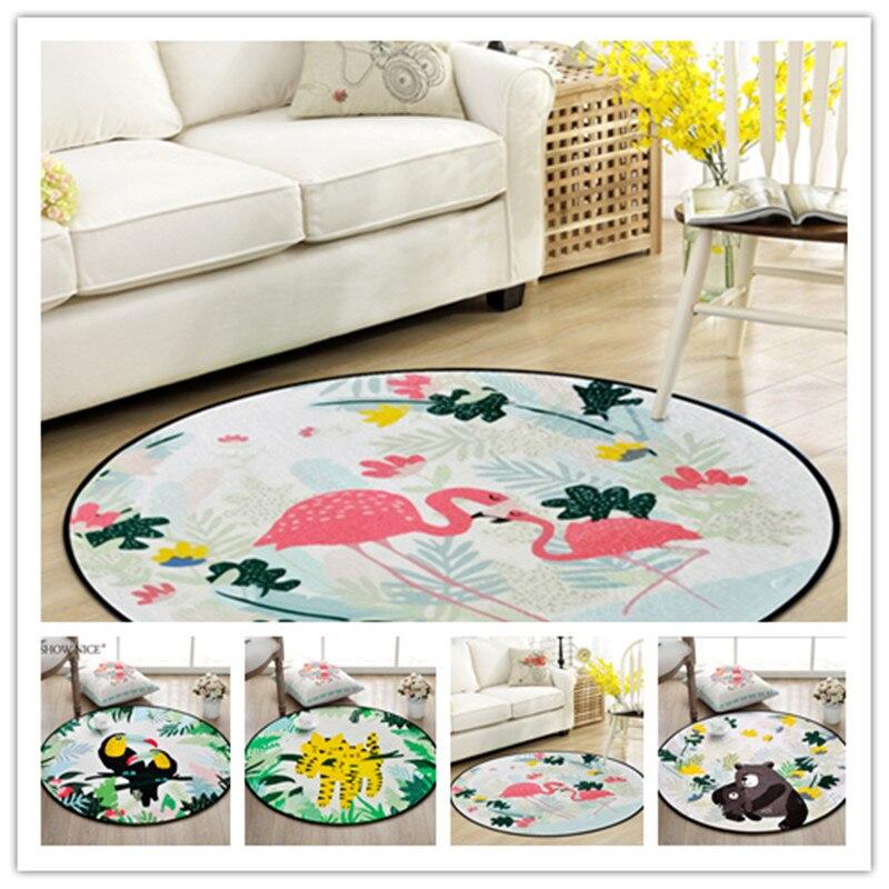High Quality Flamingo Print Cartoon Round Carpet Kids Living Room Crawl Carpets Child Bedroom Game Mat Kids Room Decor Mat Rugs