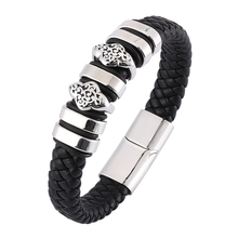 Men Braid Genuine Leather Bracelet charm Stainless Steel Magnetic fashion jewelry Bangle Pulseras BB0343