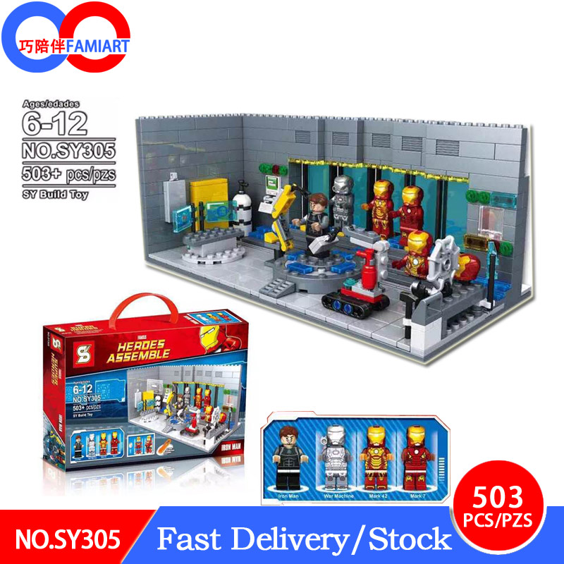 SY305 Legoing superheros Super Heroes Iron Man Underground Base playmobil figures Building Blocks christmas Toys for Children недорго, оригинальная цена