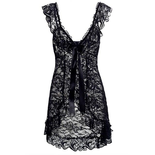 Women Sexy Lingerie Erotic Costumes Lace Sleepwear Nightgown + G String Bodydoll Underwear Sleepwear Nightgowns 4