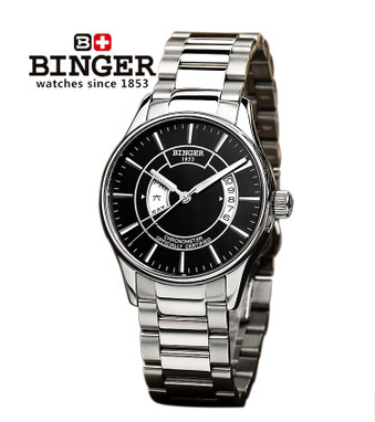 Top Quality Binger New Fashion Black Dial steel Strap Men Watch Hollow Automatic Mechanical Watch  wrist watches wholesale price