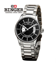 Top Quality Binger New Fashion Black Dial steel Strap Men Watch Hollow Automatic Mechanical Watch wrist