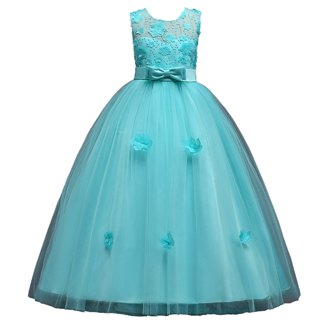 Mint Green Red Navy Blue Long Formal Party Dresses For Children