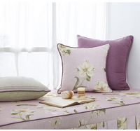 Collalily الأمريكية نمط الصلبة عودة أريكة الأرجواني زهرة وسادة رمي الزخرفية الرعوية الأزهار الفرنسية chic