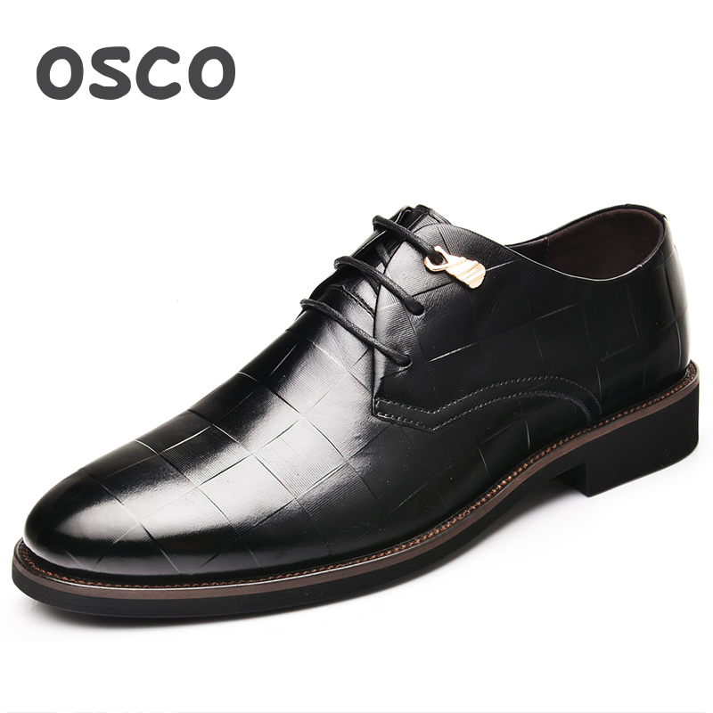 OSCO Genuine Leather Shoes Men Spring Autumn Business Dress Shoes Breathable Casual Shoes Lace-up Wedding shoes Luxury Oxfords genuine leather men shoes spring casual shoes 2016 autumn leather shoes breathable flat shoe lace up outdoor oxfords wholesale