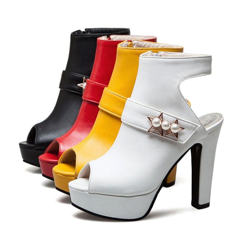 Talon Chic Chaussures Sandales Mode Black Fermeture red Haute Éclair Plate Femmes Femelle yellow Pompes Perle Fanyuan white Gladiateur De Extrême Dames D'été forme wIzpqxqU