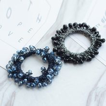 Luxury Women Crystal Handmade Rubber Band Bows Scrunchy Hair Ring Headbands Elastic Bands Accessories