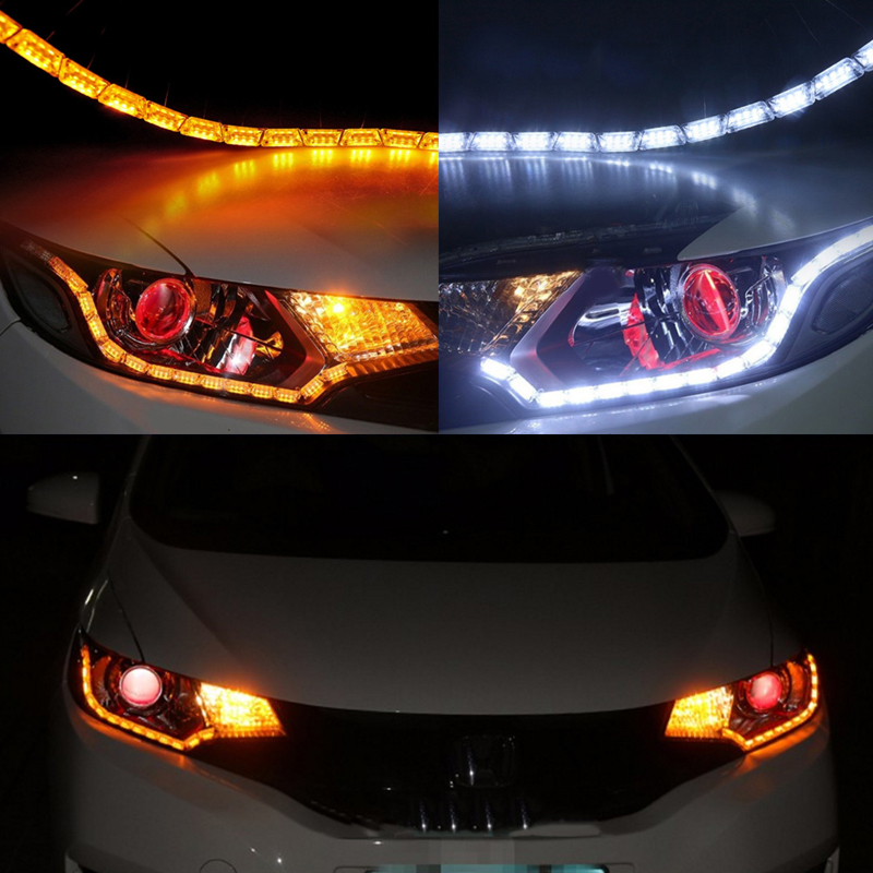 Car Strip Light Signal Headlight 2*Switch back Flowing Sequential Dual Color LED J24 12v led light auto headlamp h1 h3 h7 9005 9004 9007 h4 h15 car led headlight bulb 30w high single dual beam white light