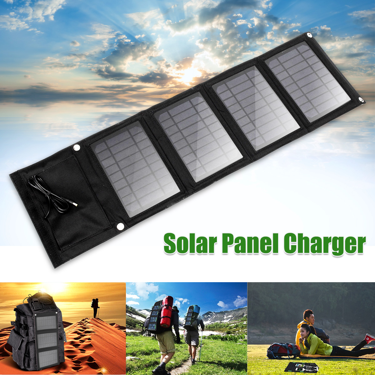 Portable 16W Folding Foldable Waterproof Solar Panel Charger Mobile Power Bank for Phone Battery Dual USB Port Outdoor xinpuguang solar panel charger 100w 9v 18v foldable portable black fabric waterproof power bank phone 12v battery dual usb 5v 2a
