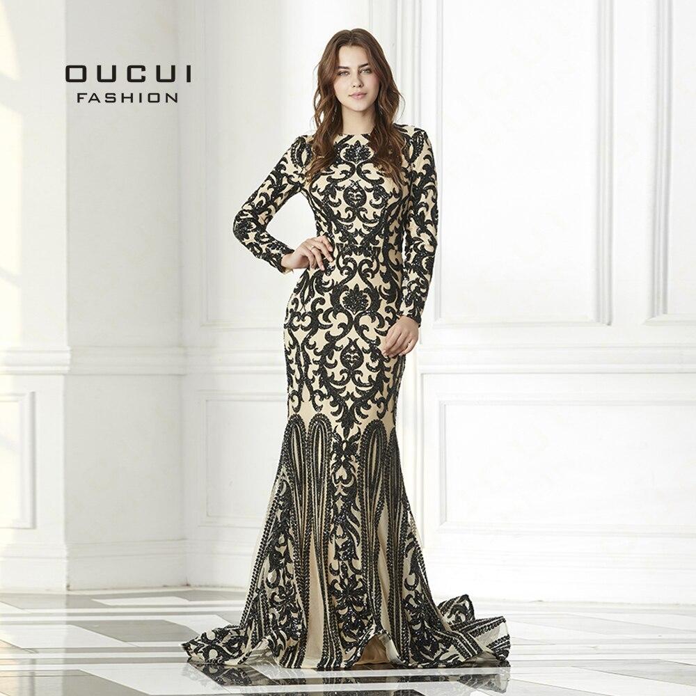 De luxe Sequin Vintage À Manches Longues Robe de Soirée 2019 Noir Musulman Sirène Robes Formelle Élégante Robe de Bal Robe Sirene OL103093