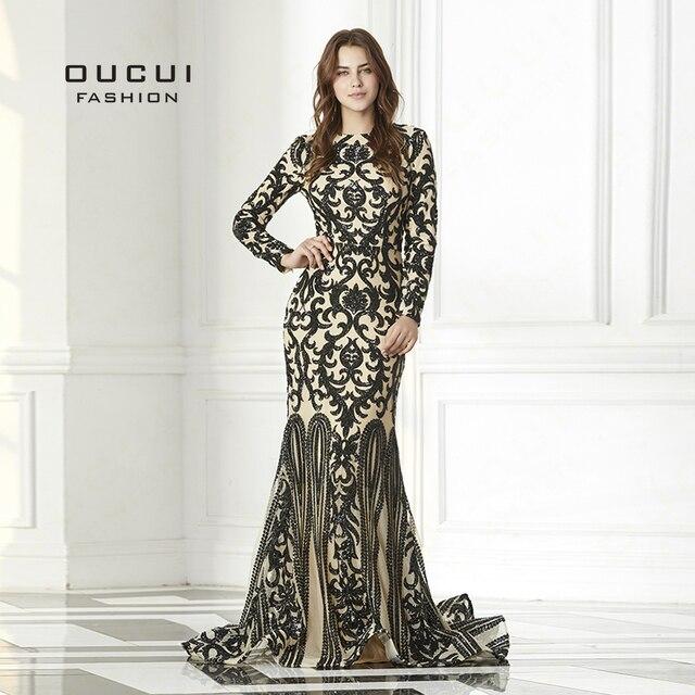 80e215a5176 Luxe Sequin Vintage à manches longues Robe de soirée 2019 noir musulman  sirène robes formelle élégante Robe de bal Robe Sirene OL103093
