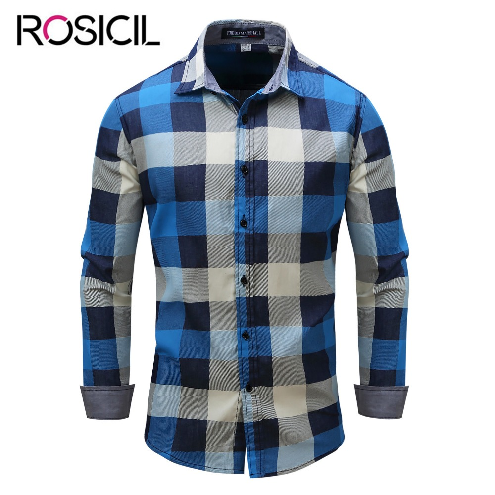 2018 New Arrival Men's Brand Long Sleeve Plaid Shirts High Quality Men 100% Cotton Casual Denim Style Men Blue Big Size Shirts