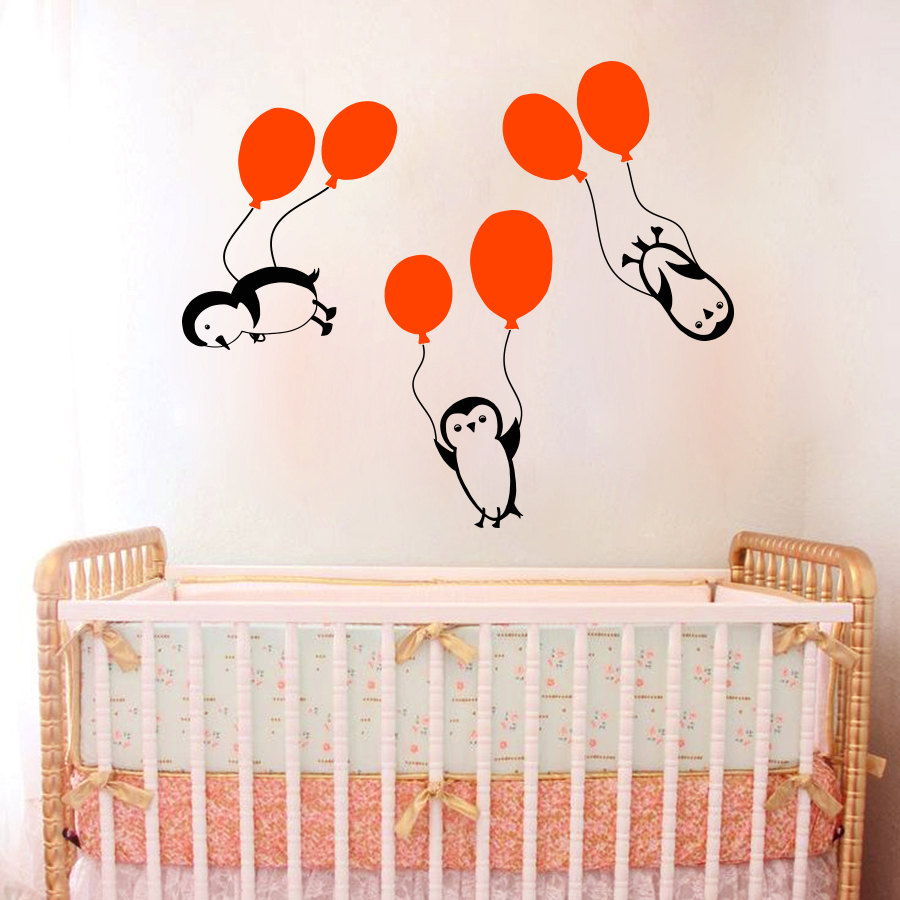 popular design baby room buy cheap design baby room lots from vinyl sticker 3 pieces penguins balloons nursery children s room wall sticker baby girl boy art design