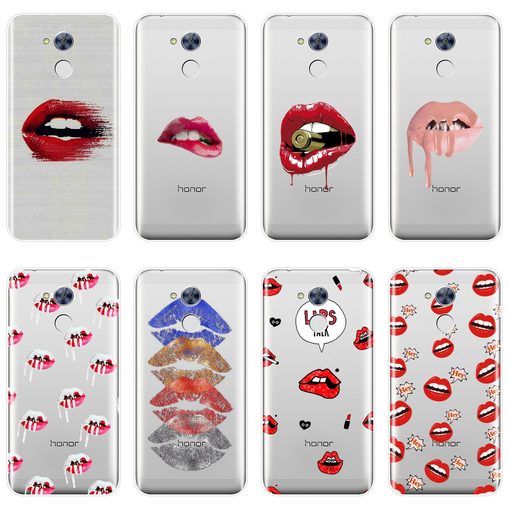 Back Cover For Huawei <font><b>Honor</b></font> 6 5A 4X 5X <font><b>6X</b></font> 6A Soft Silicone <font><b>Sexy</b></font> Lips Red Lipstick <font><b>Phone</b></font> <font><b>Case</b></font> For Huawei <font><b>Honor</b></font> 4C 5C 6C 6A Pro image