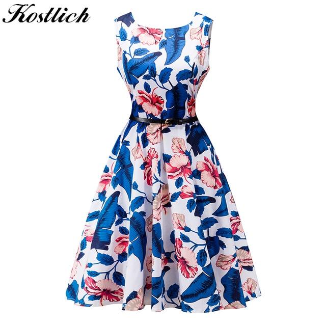 Kostlich Summer Dress Women Retro Cotton Floral Print 50s 60s Vintage Dress With Belt Sleeveless Elegant Party Dresses Sundress