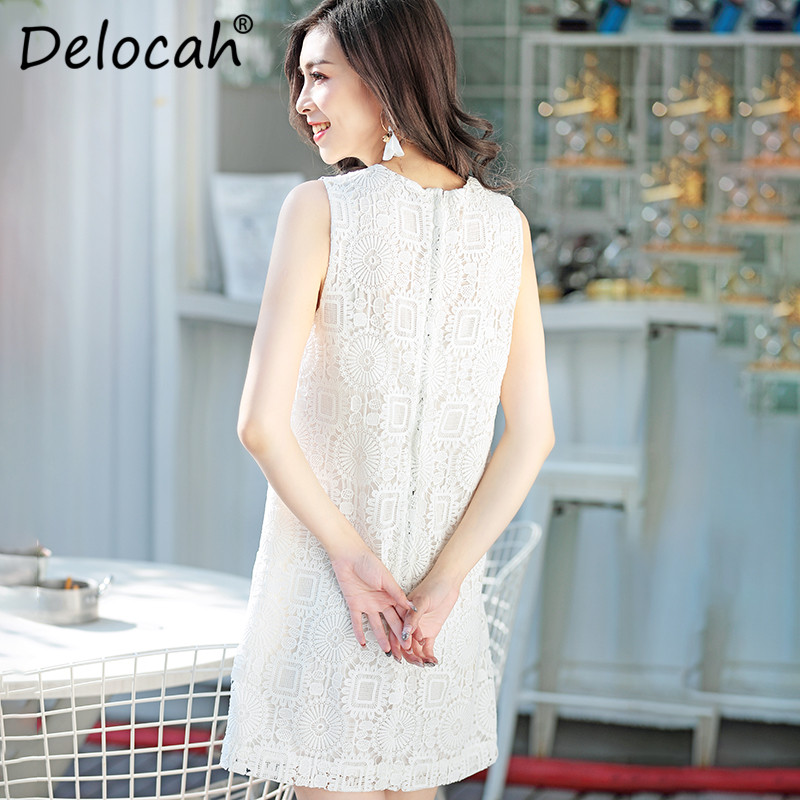Broderie Réservoir Femmes Magnifique Qualité Pour Mode Designer Blanc Delocah De Supérieure Courte Manches Robe Sans D'été Nouveau PUwv7v0q