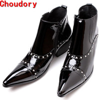 New Arrival Western High Heels Pointed Toe Studded Cowboy Boots Patent Leather Motorcycle Punk Shoes Man