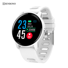Senbono s08 ip68 à prova dip68 água relógio inteligente homem de fitness rastreador monitor de freqüência cardíaca smartwatch feminino para android ios telefone