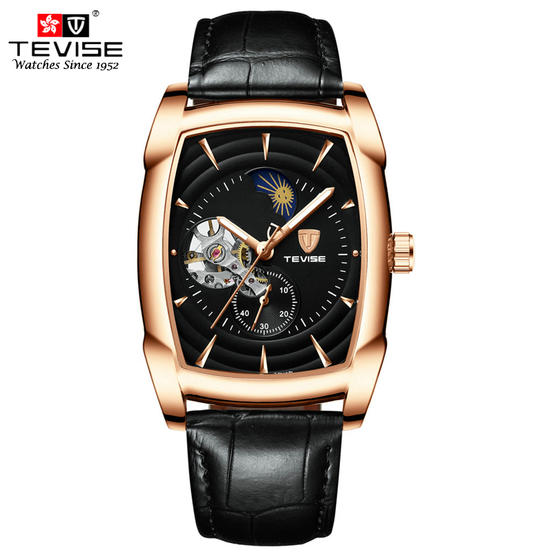 Tevise Leather Watch Automatic Men Automatic Watches Man Mechanical Moon Phase Wristwatches Clock Montre Automatique Homme T802Tevise Leather Watch Automatic Men Automatic Watches Man Mechanical Moon Phase Wristwatches Clock Montre Automatique Homme T802