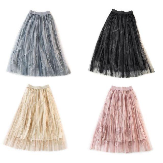 Ladies High Waist, Multi Layer Mesh, Pleated, Long Skirt