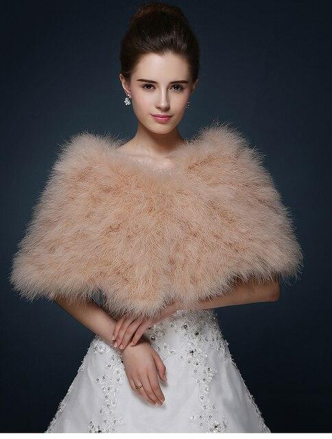Champagne Fur Wedding Shawl