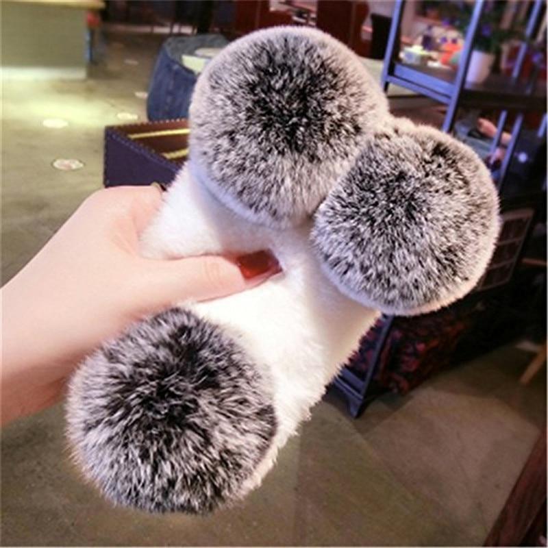 1Pcs Cute Case For Google Pixel 3 XL Rabbit Fur Hair Fluffy Panda Bear Bling Crystal Rhinestone Phone Case For Google Pixel 3XL