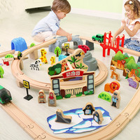 Electric Train Set Rail Car Wooden Track Train Railway Wooden Railway Electric Racing Electric Toy Trains for Kids 4 Years Old