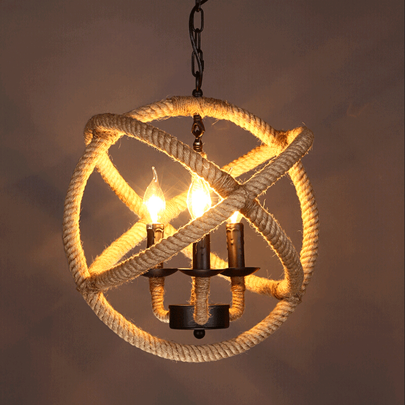 Retro Hemp Rope Iron Pendant Lights Vintage Hemp Cord Hanging Lamp For Cafe Bar Restaurant Ball Shape LED Haning Light Lamps E27 modern creative design resin monkey loft vintage hemp rope pendant lights for home lighting bar cafe retro hanging pendant lamp