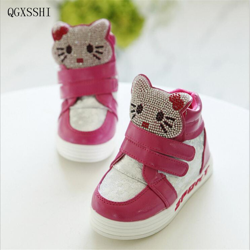 QGXSSHI Children winter boots new fashion 2016 Girl PU brand cartoon sneakers kids water ...