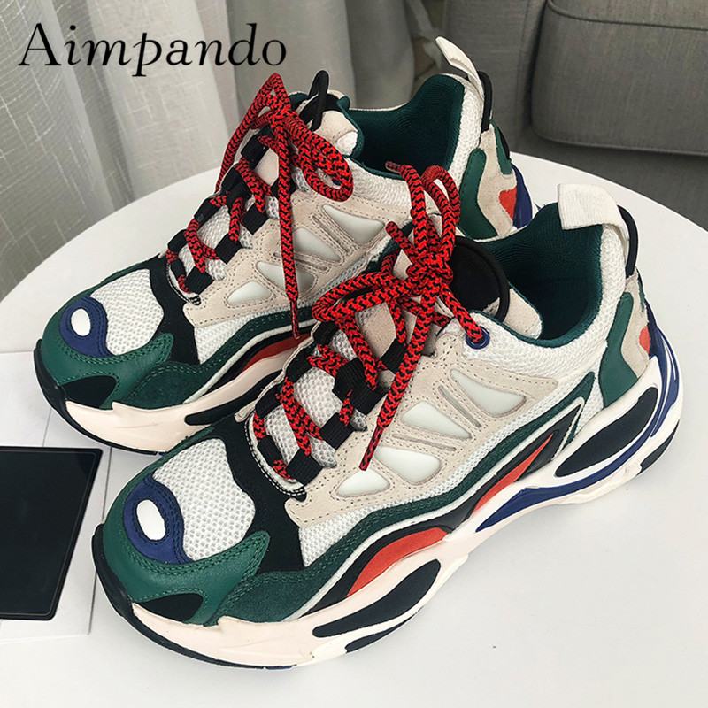 2019 Chic Design Sneakers Women Round Toe Spell Color Platform Shoes Woman Breathable Walking Shoes Female Casual Shoes   2019 Chic Design Sneakers Women Round Toe Spell Color Platform Shoes Woman Breathable Walking Shoes Female Casual Shoes