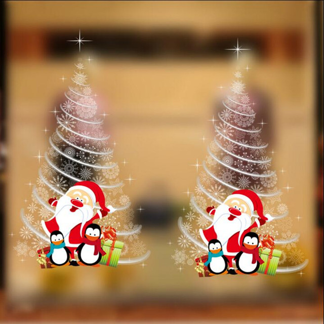 shopping mall glass door stickers christmas decorations school classroom layout white christmas tree wall stickers double