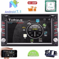 Android 7.1 Car cd DVD Player In Dash Double 2 Din Car PC Stereo GPS Navigtion Bluetooth HD Touchscreen+Free Reverse Camera