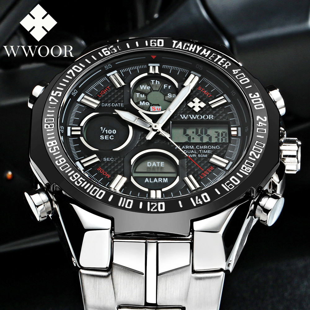WWOOR Mens Watches Top Brand Luxury Quartz Watch Men Electronic LED Digital Watch 5ATM Casual Sport Wristwatch Relogio Masculino