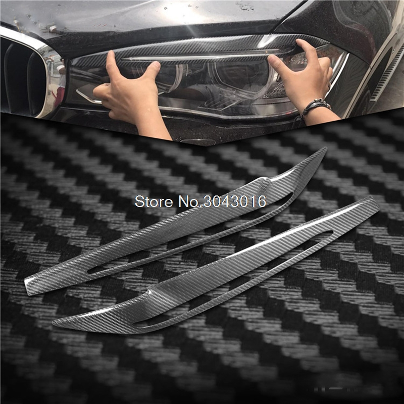 High Quality Real Carbon Fiber decoration Headlights Eyebrows Eyelids cover for bmw X5 F15 2014 2015 2016 2017