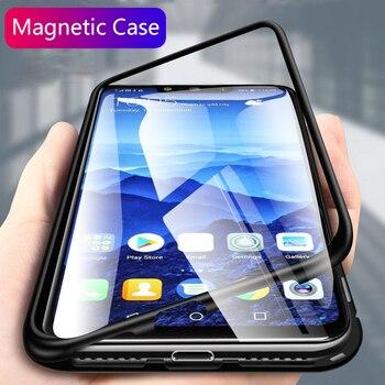 Magnetyczne etui z klapką etui na Huawei mate 20 lite etui przezroczysta szklana tylna pokrywa metalowa rama bupmer ochronny coque mate 20 pro x