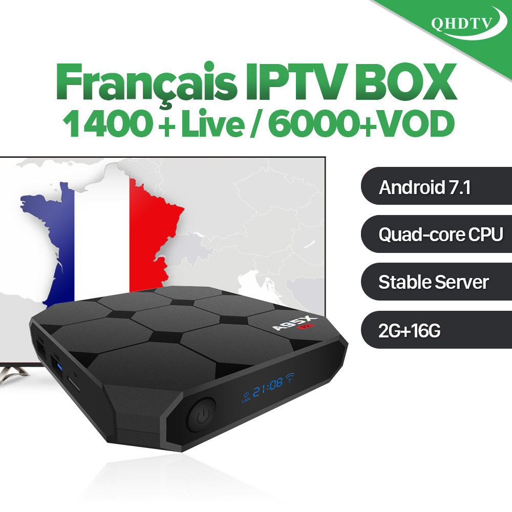 QHDTV Code 1 Year Subscription 1400 Channels 4K A95X TV Box Smart Android  7 1 IPTV Europe French Arabic IPTV Box Media Player