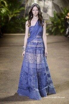 42300be3bbb Élégant bleu Royal Elie Saab robe de soirée longue 2019 perles complètes  luxueux formelle femmes robe de mode robes d occasion spéciale