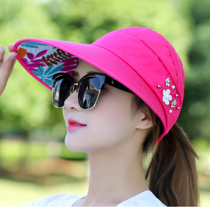 Hat ladies visor spring and summer Korean version of UV protection along the beach sunscreen sun hat collapsible cap(China)