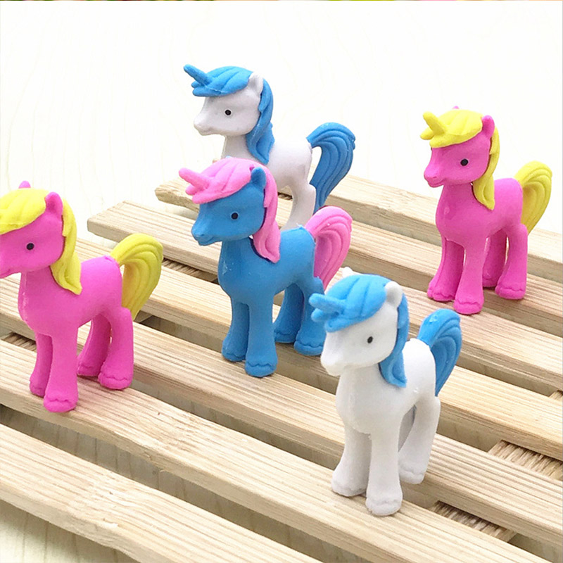 12 Pcs/lot Cool Unicorn Pencil Erasers Cartoon Animal Pony Rubber Eraser For School Students Gift Novelty Creative Stationery