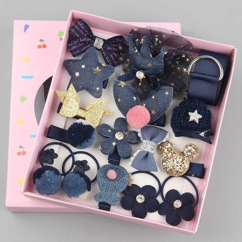 18 pièces enfants dessin animé pince à cheveux fille cadeau chapeaux boîte épingle à cheveux corde accessoires cheveux anneau cercle enfant belle bande de caoutchouc