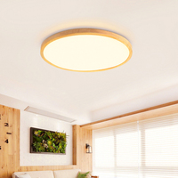 LED Ceiling Light 2.4G Remote Control Dimming Wood Home Indoor Bedroom Living Room Decoration Lighting Fixture Round AC90-260V
