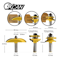 XCAN 3pcs 1 2 Shank Ogee Raised Panel And Rail Stile Router Bits Set Milling Cutter