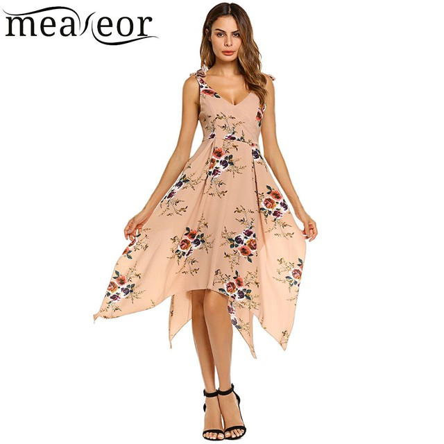 a9699fe303 Meaneor Tropical Floral Asymmetrical Dress Spaghetti Strap Lace-up Backless  Women Dresses Long Sexy Summer Party Dress Vestidos