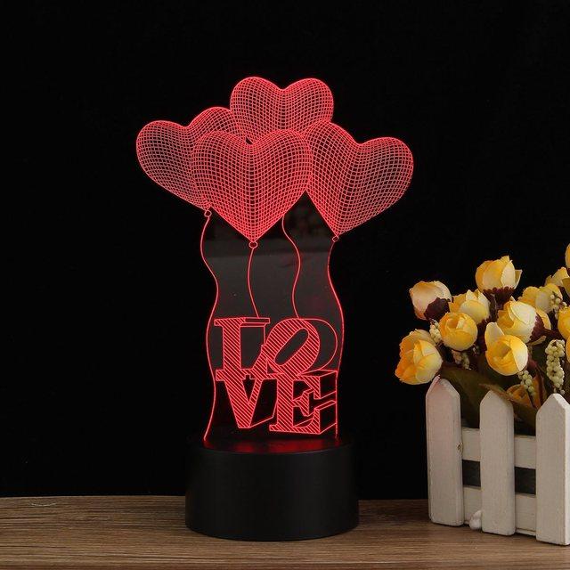 Romantische 3d Visuelle Usb Led Liebe Herz Nachtlicht Farbwechsel