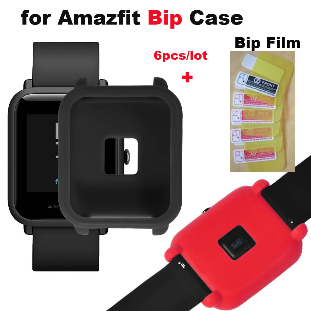 Protector Pantalla Case For Xiaomi Huami Amazfit Bip Bit Lite Screen Protector Pantalla Case Black Protective Cases 6 Pcs