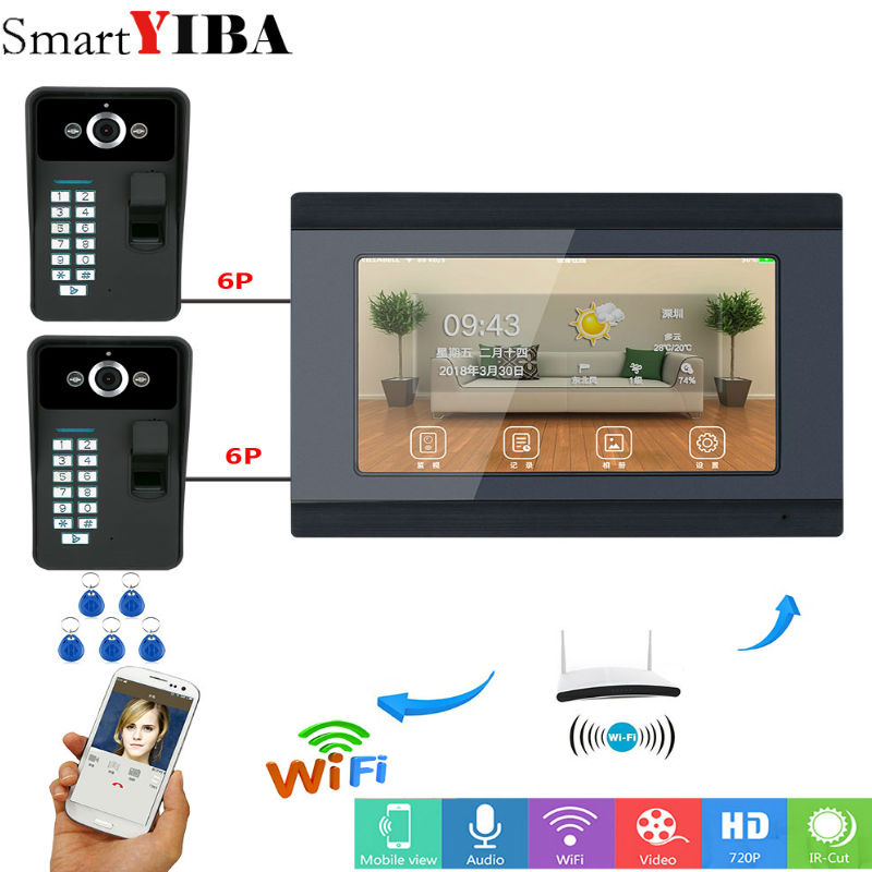 7inch Wired/Wifi Fingerprint RFID Password Video Door Phone Doorbell Intercom Entry System Support Remote APP 2HD Camera