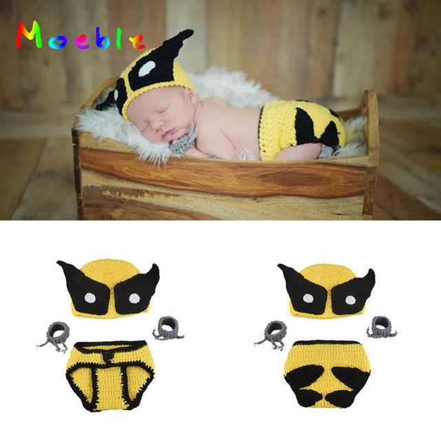 8aaed3b4f8a98d Latest Crochet Wolverine Hat Claws and Diaper Cover for Baby Boys  Fotografia Knitted Newborn Superhero Costume Photography Props